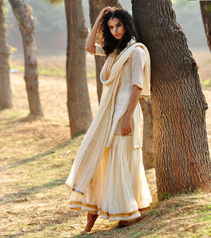 IVORY AND GOLD SHARARA SET
