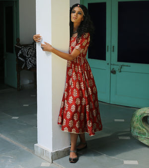 RUST CHANDERI BLOCK PRINTED GYPSY DRESS