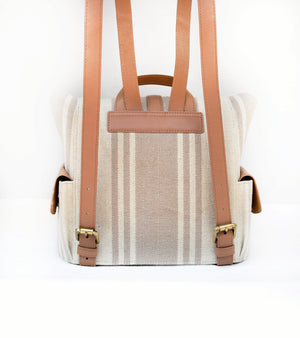 Beige-Tan Strap Jute Backpack
