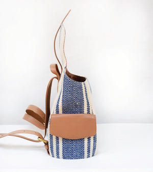 Blue-Tan Strap Jute Backpack