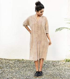 Beige Oversize Shirt Dress