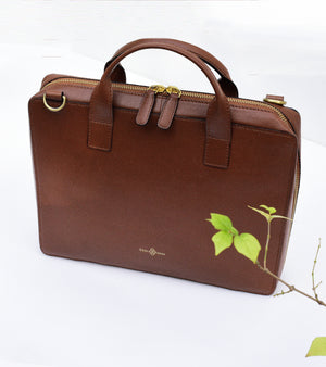 Brown mini briefcase