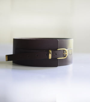 Burgundy Brown Corset Belt