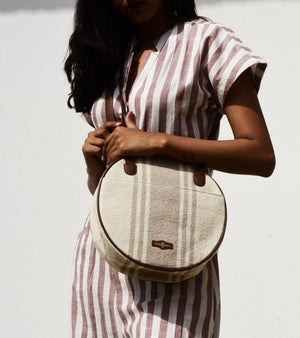 Beige Jute striped full moon bag