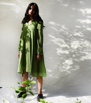 Bottle Green Flared Dress