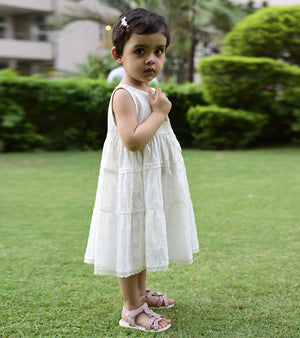 Ivory tiered mulmul dress
