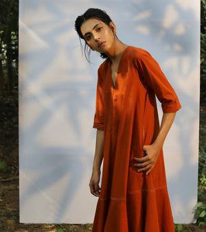 Rust Front Zipper Maxi Dress