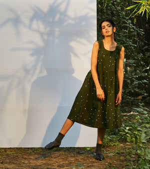 Dark Green Fit & Flare Dress