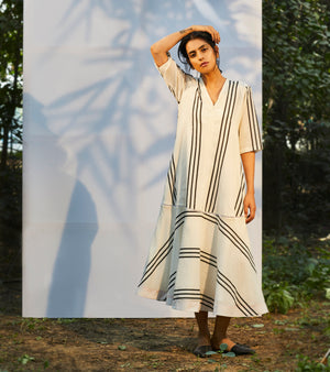 White Stripe & Flounce Maxi Dress
