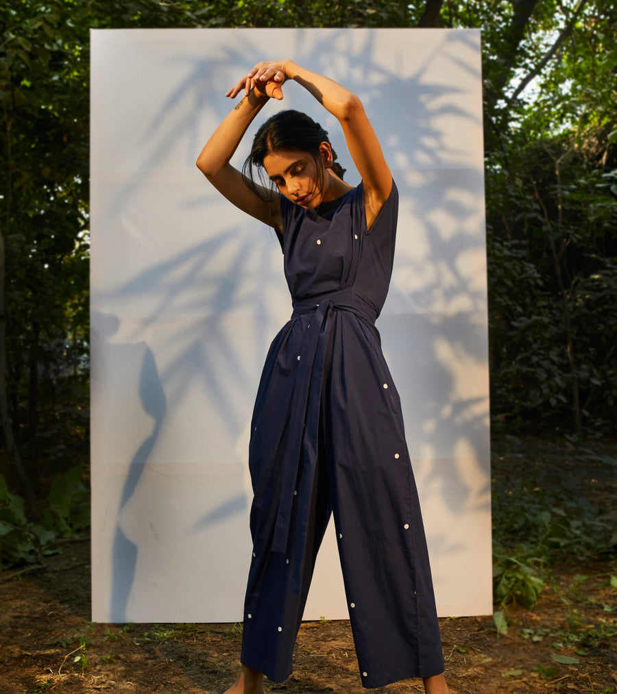 Navy Blue Block Printed Jumpsuit