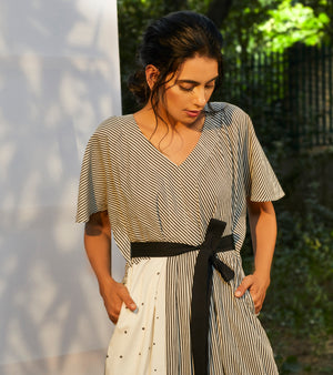 Black & White Belted Waist Dress