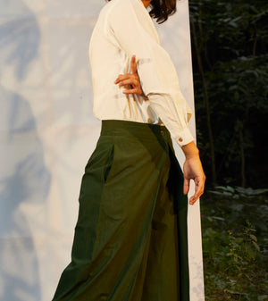 Dark Green Pleated Pants