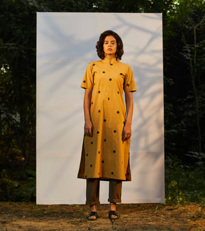 Mustard Polka Kurta Dress