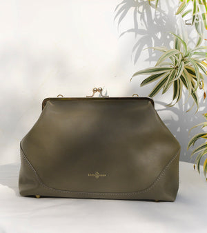 Olive Bucket Clutch