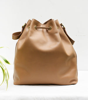 Tan Drawstring Shoulder Bag