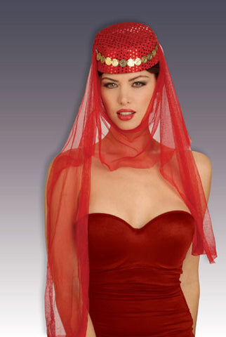 Arabian Harem Hat - Red Pillbox with Veil & Coins