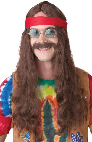 Hippie Brown Wig and Moustache