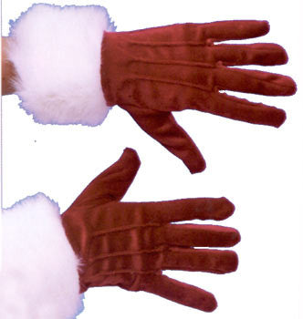 Adult RED Velvet Gloves w/ fur trim