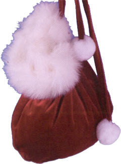 Velvet Christmas purse with Fur Trim