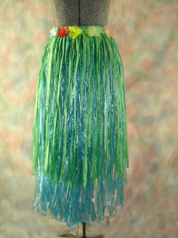 Hula Skirt (Two Tone) with Flower Lei Trim