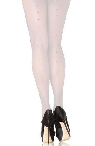 White Rhinestone Backseam Pantyhose  T193