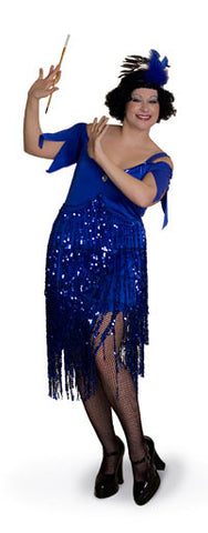 Blue or Black Flapper Costume - Plus Size