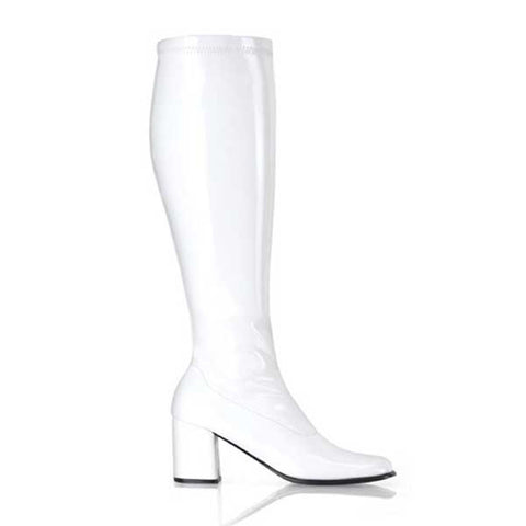 Go Go Boots 300 WC/W Wide calf, Wide shoe - White Shiny Patent Leather   81-BX19 - WHT
