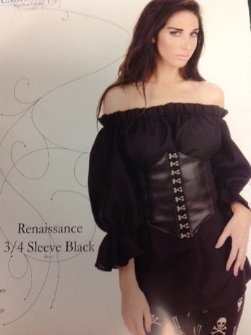Renaissance 3/4 Sleeve Black Blouse