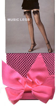 Pink Fishnet Thigh-Hi & Pink Bow