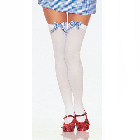 Opaque Thigh Highs with Gingham Bows