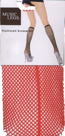 Red Fishnet Knee Hi Tights