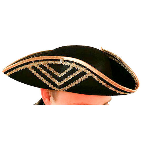 Hat, Gold Trim Tricorn