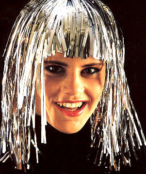 Silver Metallic Tinsel Wig