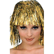 Gold Metallic Tinsel Wig