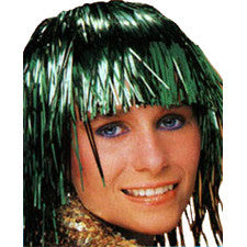 Green Metallic Tinsel Wig