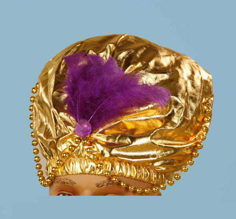 Gold Turban with Beads