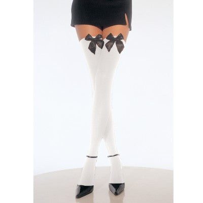 White Thigh Hi Tights with Black Bows