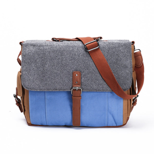 Something Strong - Canvas and Wool Messenger Bag