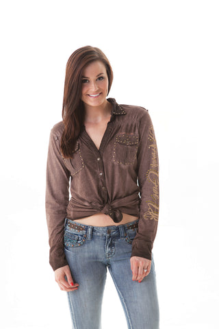 Cowgirl Tuff Womens Brown 100% Cotton Western Shirt Studded Arena L/S