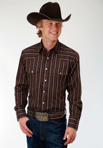 Roper 55/45 Mens Brown Cotton Blend Stripe L/S Shirt