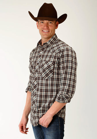 Roper Snap Mens Brown Cotton Blend Tan Plaid L/S Shirt