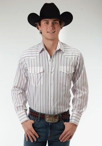 Roper Wide Stripe Mens White Cotton Blend Western L/S Shirt