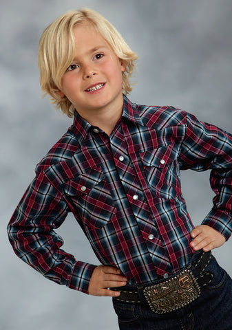 Roper Classics Boys Blue Cotton Blend Red Plaid Woven L/S Shirt