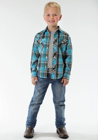 Roper Turquoise Plaid Boys Blue Cotton Blend Western L/S Shirt