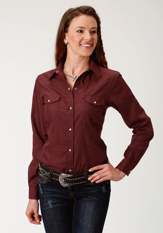 Roper 55/45 Womens Wine Cotton Blend Broadcloth L/S Shirt