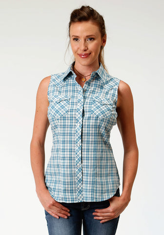 Roper Womens Turquoise/Navy Cotton Blend Plaid S/L Shirt