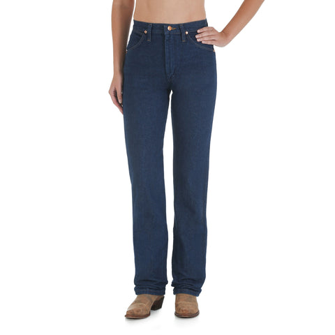 Wrangler Womens Prewashed Indigo 100% Cotton Cowboy Cut Tapered Jeans