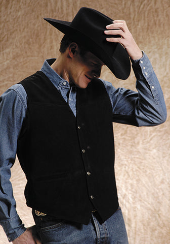 Roper Mens Black Classic Cow Suede Leather Satin Back Western Vest
