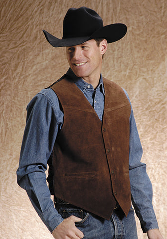 Roper Mens Brown Classic Cow Suede Leather Satin Back Western Vest