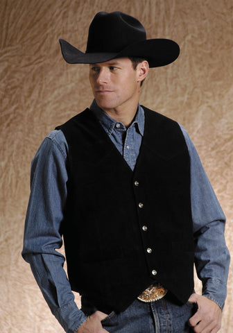 Roper Mens Black Silky Cow Suede Leather Basic Tall Man Western Vest